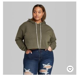 Wild Fable olive green crop top hoodie